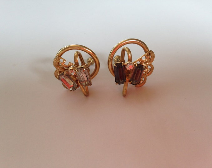 Vintage Gold-tone Screw Back Earrings with Grey & Clear Rhinestones Circa 1960s