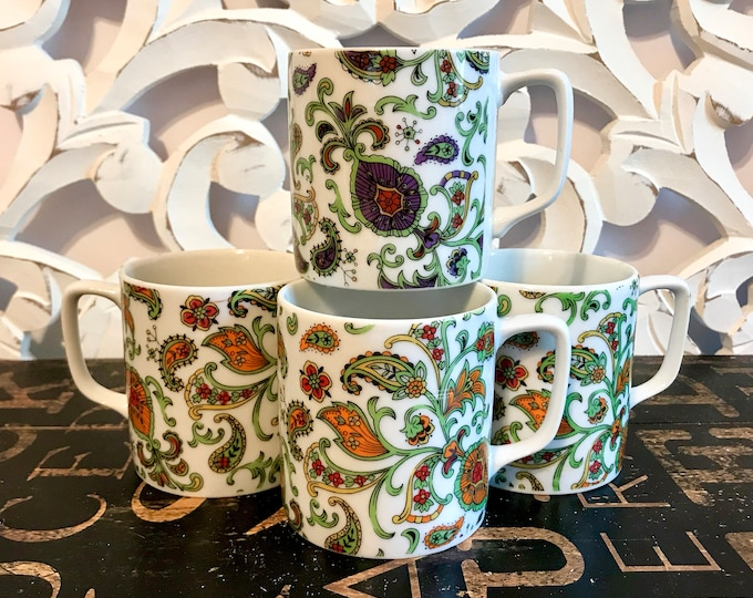 Fun and Funky Paisley Mugs Transferware on Porcelain Three (3)Orange and Green One (1) Purple and Green, coffee lover, tea lover, 1980s