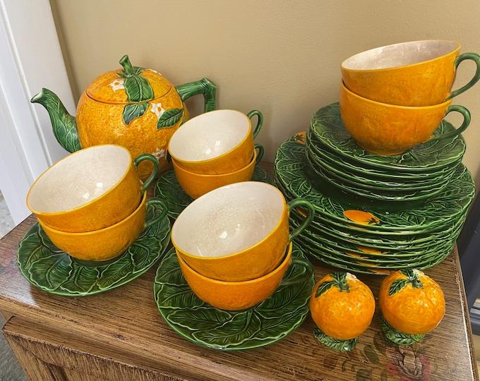 Vintage Orange Blossom Japanese Maruhon Ware Hand Painted Tea Set for Eight w/Salt & Pepper Shakers, Tea Pot,plates,cups,saucers,porcelain