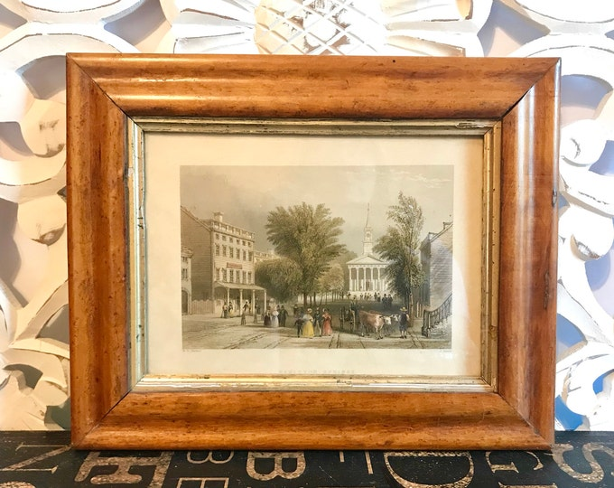 Beautifully Framed Ballston Springs Colored Engraving by J. Sands, 1838, W.H. Bartlett, Upstate New York,Saratoga,Office decor, Cottage chic