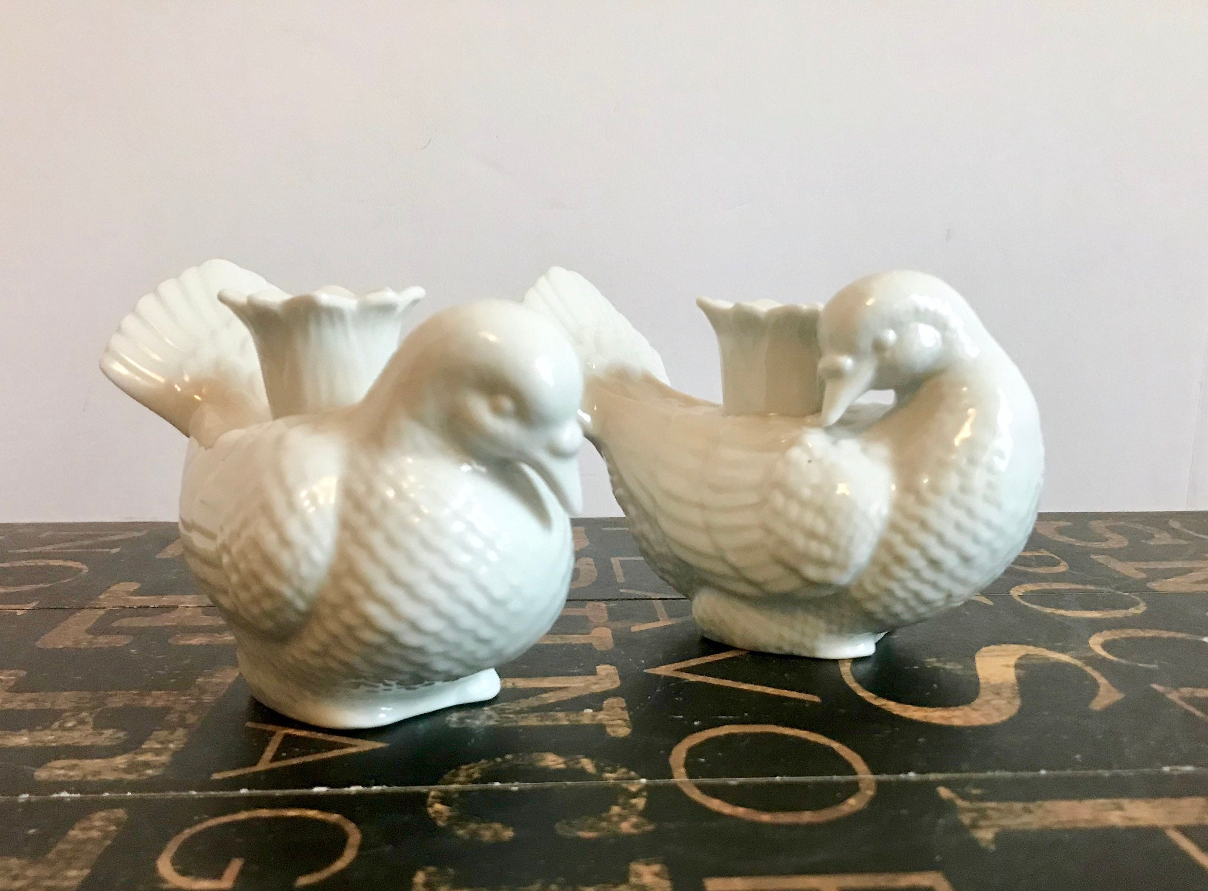 Pair of White Porcelain Blanc De Chine Dove Candle Holders, Made in ...