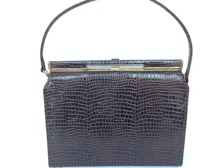 Faux Reptile Purse By Naturalizer, faux reptile handbag, Naturalizer handbag,brown,moc croc, faux croc, Reptile Handbag, gift for her