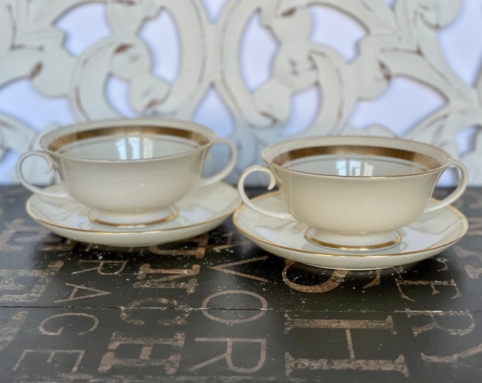 Elegant Pair of Royal Devon Double Handled Tea Cups and Saucers w/ a lovely Gold Greek Key Trim, tea party, high tea, tea time, gift for mom