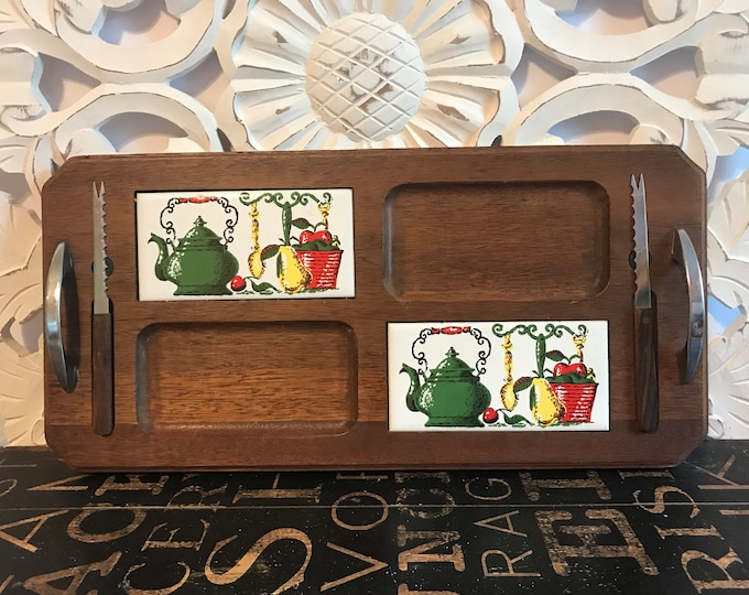 Vintage 1970s Wood Cheese & Cracker Tray with Stainless Handles, 2 Knives, Tile Inserts w/Green Kettle Kitchen Scene, Dinner Party Decor