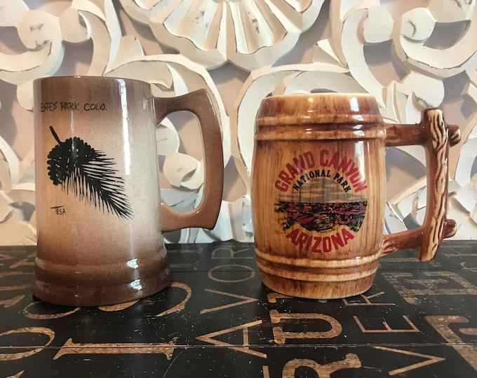 Vintage Ceramic Collectible Souvenir State Beer Stein/Mug Sold Individually or as Set,Estes Park, Colorado, Grand Canyon, Arizona, State Mug