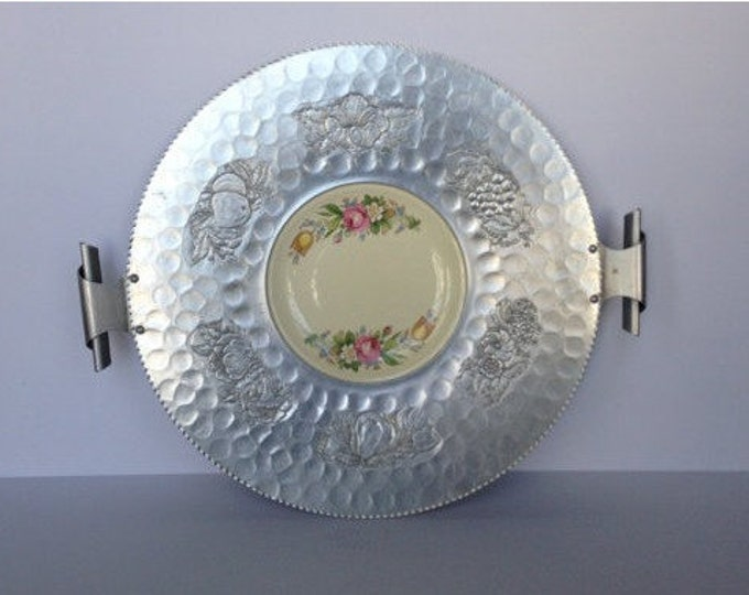 Mid Century Hammered Aluminum Tray w/ Paden City Pottery Company Floral Plate Insert. Beautiful Curled Handles.  Excellent Vintage Condi...