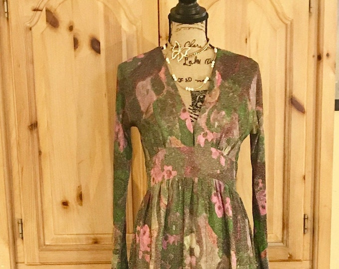 1970s Maxi Dress w/Long Dolman Sleeves, Empire Cumberbund Waistline made from Semi Sheer Shimmering Polyester abstract floral lined in pink