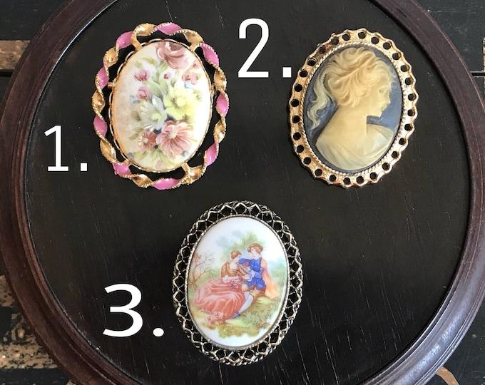 Vintage Brooch, 1960s brooch, vintage pin, man brooch, gift for her, Fragonard, porcelain brooch, cameo, painted china pin