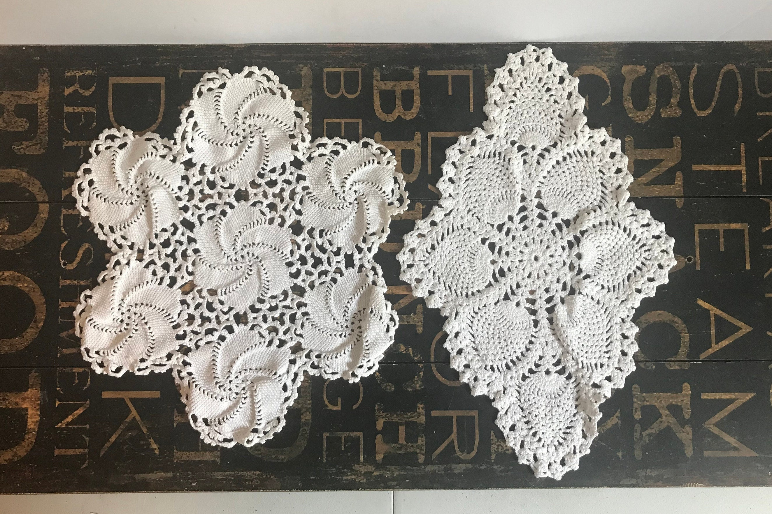 Two Lovely Vintage Cotton Crochet Lace Doilies Wedding Decor Craft