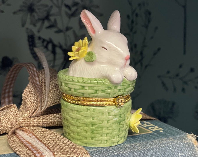 Vintage Mudpie Limoges Style bunny trinket basket, Easter gift, gift for her, trinket box, bunny collectible,