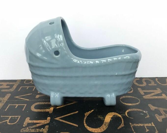 Vintage Nursery Cradle / Bassinet Planter in Wedgewood Blue, baby shower decor, Nursery decor, Baby Shower, baby boy, Succulent planter