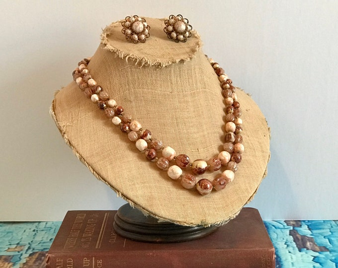 Gorgeous 1960s Double Strand Necklace and Screw-back Earring Set, Hues of Burgundy, Rose and White. Made in Hong Kong, madmen style, vintage
