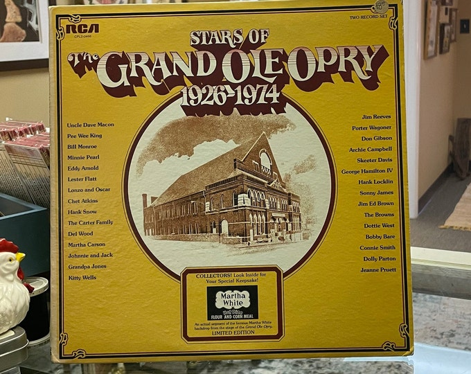 Stars of the Grand Ole Opry 1926-1974 RCA Double Vinyl Record Album Set,Collector's Limited Edition w/piece of Martha White stage backdrop