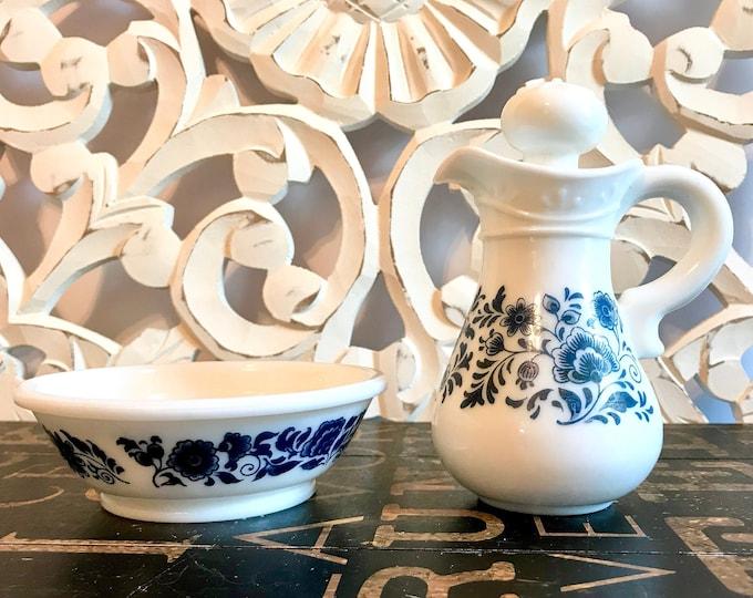 Avon White Milk Glass Delft Blue Pitcher & Bowl with Blue Flowers Skin So Soft Bath Oil, Cruet, Carafe, Decanter, vintage avon collectibles