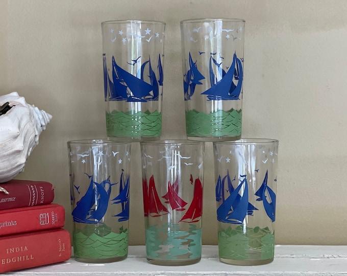 Set of Five (5) Hazel Atlas Sailboat Glasses Four (4) Blue & One (1) Red, nautical bar, sailboats, beach decor, vintage tumblers, 1950s