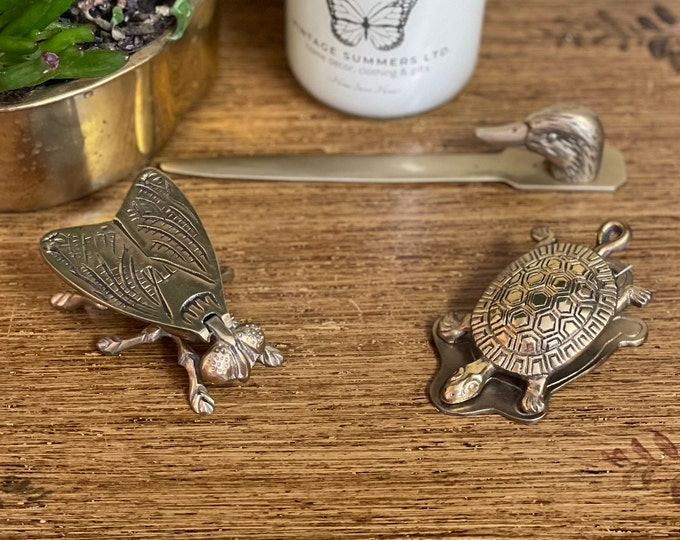 Vintage Brass Accessories, fly ashtray, duck letter opener, turtle paper clip, gift for new job, trinket box, boho chic,duck lover