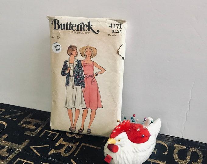 1970s Vintage Butterick Pattern 4171, size 12, Misses' jacket, dress, & belt, vintage pattern, vintage sewing, sundress, 70s fashion