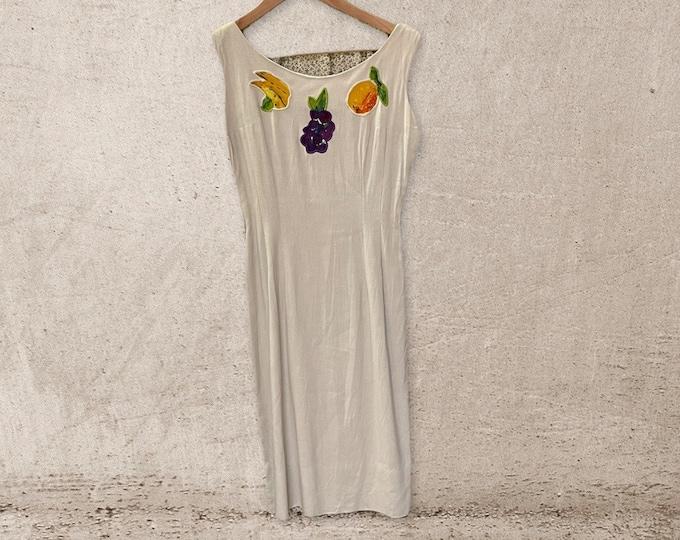 Amazing 1960s Home Sewn Wiggle Dress w/fruit appliqué, sleeveless, zip back, gabardine, 60s fashion, madmen, Joan Harris, The Wonder Years