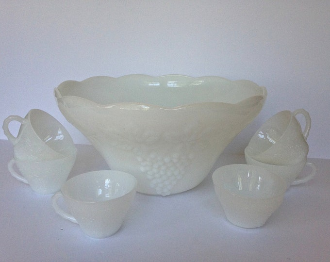 Vintage, White, Milk Glass Punch Bowl and Cup Set. Anchor Hocking, Grape Pattern Vintage Punch Bowl Set; one punch bowl and 6 cups.