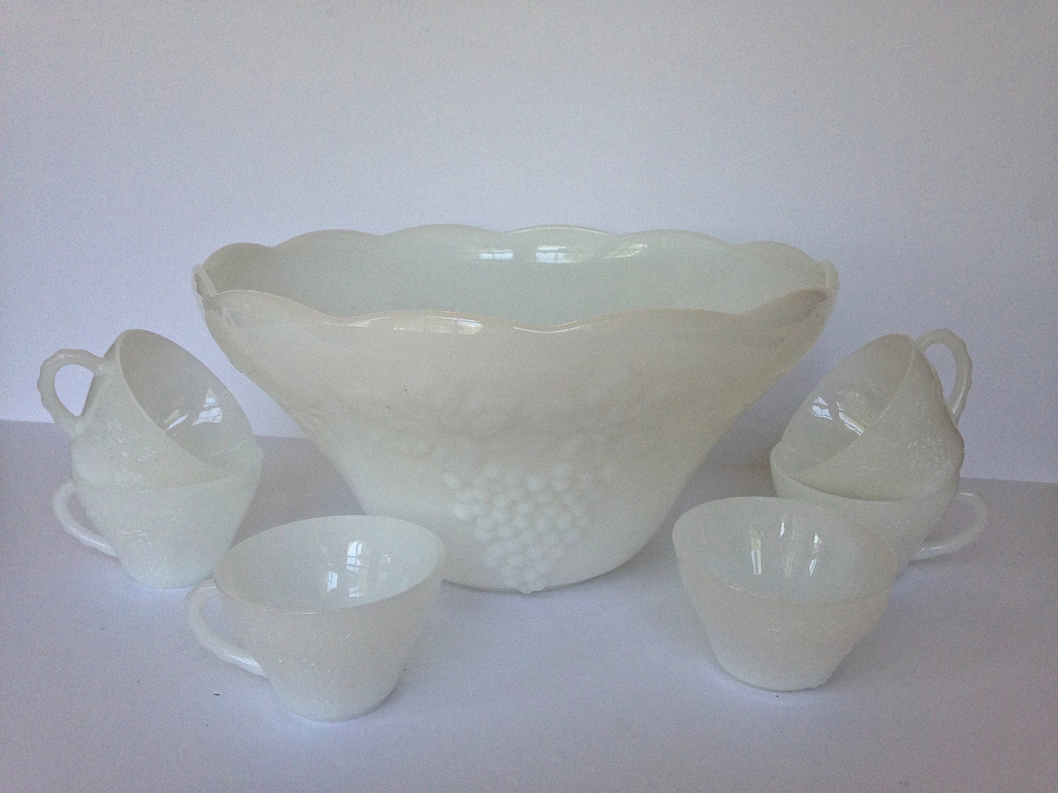 Vintage White Milk Glass Punch Bowl And Cup Set Anchor Hocking