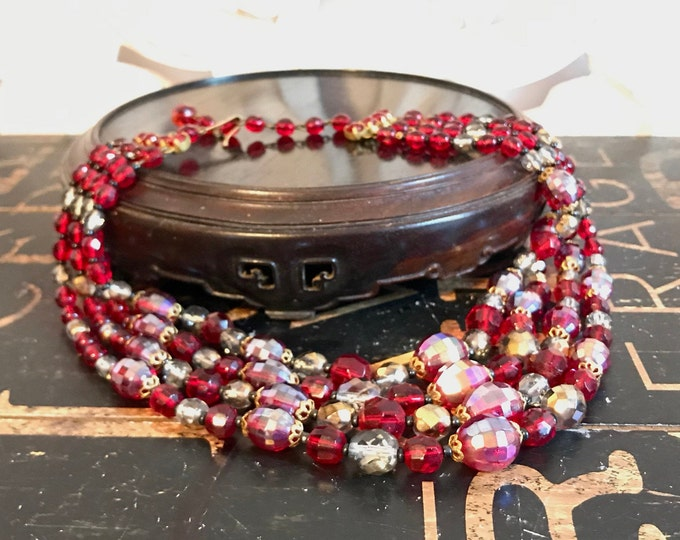 Beautiful Four Strand Czechoslovakian Faceted Glass Bead and Brass Necklace Made in West Germany, Ruby Red, Aurora Borealis Red, Clear, Gold