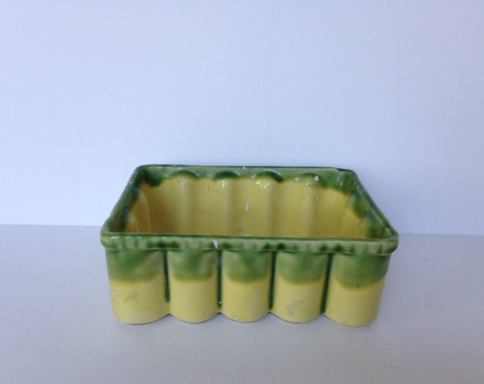 Vintage Green and Yellow Planter 145 Scalloped Edges, succulent planter, herb planter, Pottery Planter,california pottery, fluted pottery