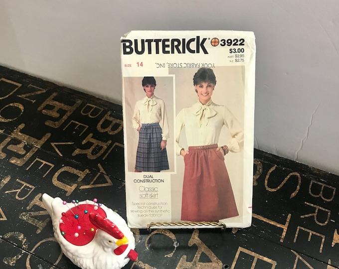 Vintage 1980s Butterick Sewing Pattern 3922 Size 14, A-line skirt, falls below knee,gathered straight waistband,pockets,zipper closure,uncut