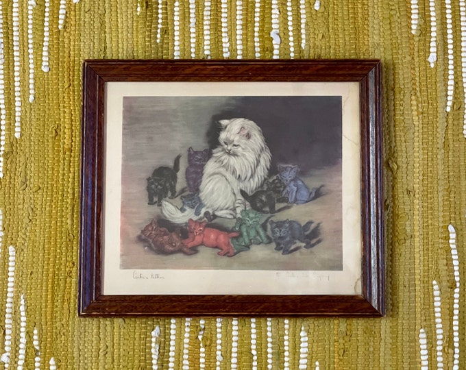 Adorable Antique Carter's Ink Company Promotional Print Carter's Kittens in wooden frame, gift for cat lover, cat mom, cat dad