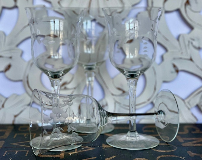 Elegant Set of Four (4) Vintage Bell Shaped Wine Glasses w/Gray Cut Flowers, Leaves & Triangles, wine lover, dinner for four, new home gift