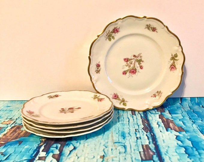 Vintage Rose Bouquet plates by Royal Heidelberg, Four (4) Bread & Butter and Two Salad, Cottage Chic, Wedding China, Rose China, floral