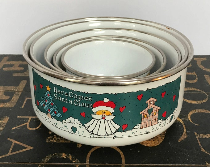 Vintage Stacking Enamel Christmas Bowls Set of Five (5), Christmas Decor, Enamelware, Vintage Christmas, 1990s, Country Christmas