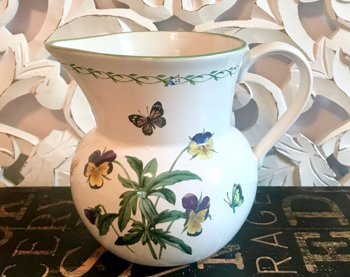 Garden Bloom 60 Oz Pitcher by Studio Nova, Cala Lily, Butterfly, moth, bee, ladybug, Spring, Seter table, Easter table, water pitcher,pansy