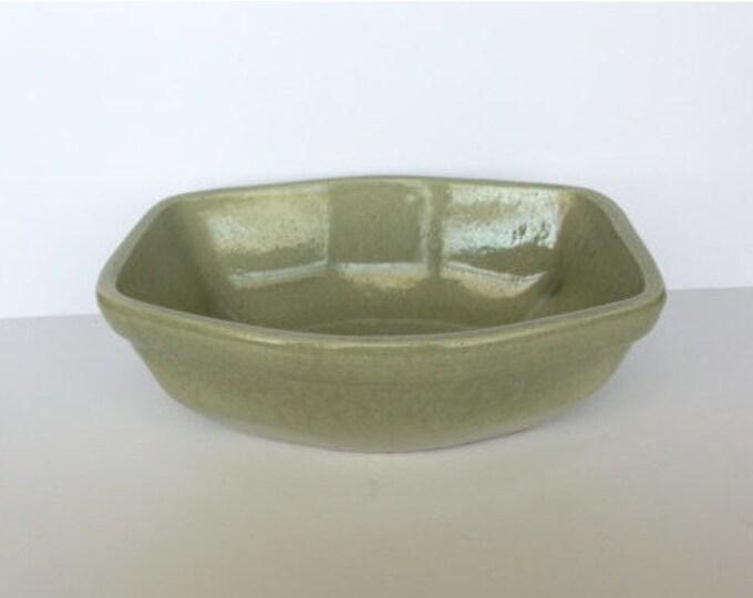 Vintage Rare Six Sided Mountainside Art Pottery Stoneware Planter or Fruit Bowl made Light Green Glaze Circa 1940 Marked M P on the bottom