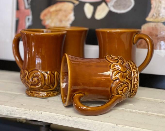 Vintage Mugs Set of Four (4) Florentine Brown by Certified International, Earth tone kitchen, housewarming gifts, coffee mugs, tea mugs