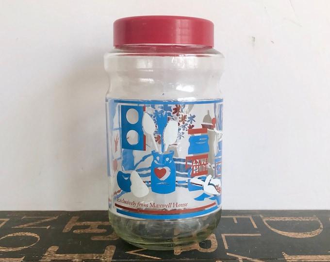 Vintage Maxwell House Coffee Jar 1970s, Vintage Kitchen, 1970s props, kitchen prop, red, white, blue, retro kitchen, coffee collectibles
