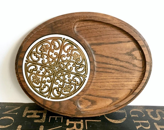 Mid Century George Briard Oval Woodland Cheese Board with Signed Round White & Gold Enamel Metal Medallion Tile Insert