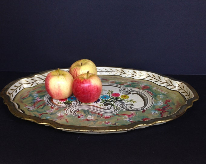 1960s Gorgeous Mid Century Modern painted tin tray marked Baret Ware Art Grace S.L.K. 62/3 Made in England on bottom