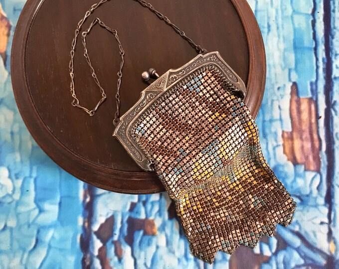 Antique Whiting Davis mesh enamel metal flapper evening bag, mesh purse, W&D bag, flapper accessories, The Great Gatsby, Jazz Age, Zelda