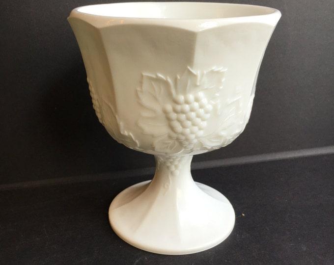 Milk Glass Pedestal Dish by Colony in Harvest Grape planter vase wedding centerpiece compote bowl planter bridal shower baby shower decor