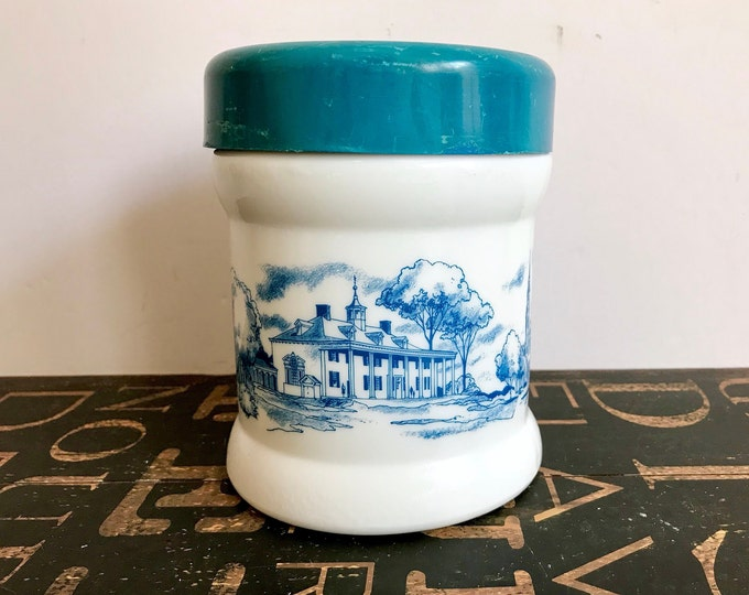 1950s Milk Glass Humidor or Tobacco Canister w/Bicentennial Scenes and Snap-on Plastic Lid, Tobacciana, Father's Day Gift, Gift for Dad