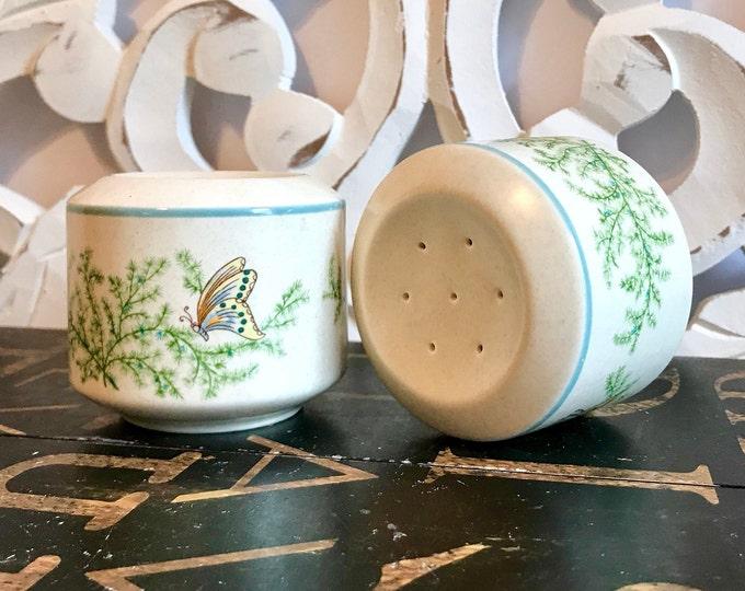 Vintage Lenox Temper-ware Salt & Pepper Shakers, Fancy Free Pattern, Blue Band, Butterfly,Freezer,oven, dishwasher,microwave safe, stoneware