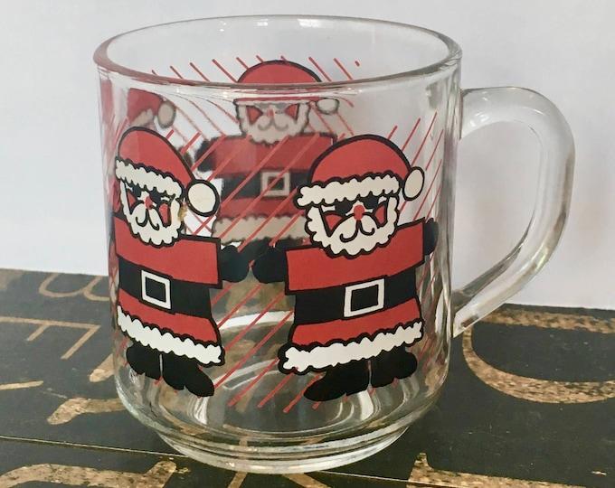 Vintage Luminarc Santa Claus glass mug, Cristal D'Arques-Durand, Arc International, Retro Santa, Christmas Kitchen, Teacher Christmas Gift
