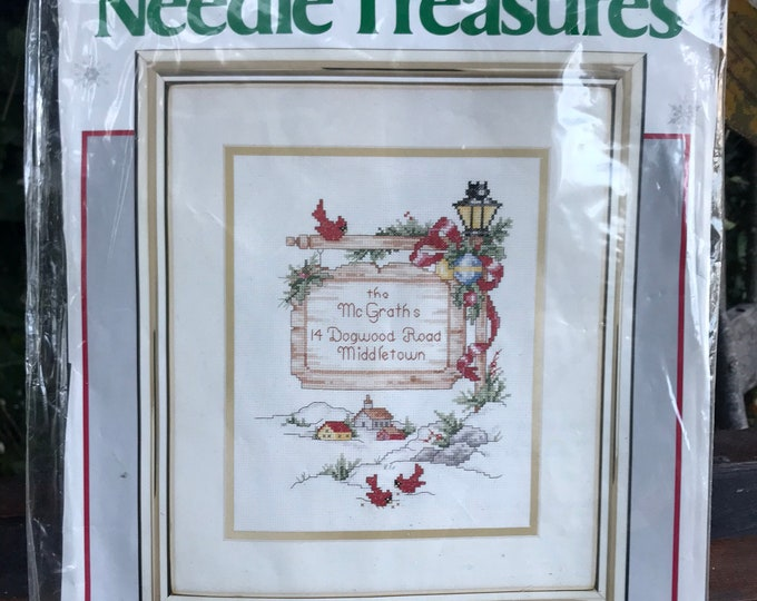 """Vintage Counted Cross Stitch Kit by Needle Treasures, """"Holiday Sign Post"""" 02875, Joan Marchie, JCA, INC, gift for mom, house warming gift"""