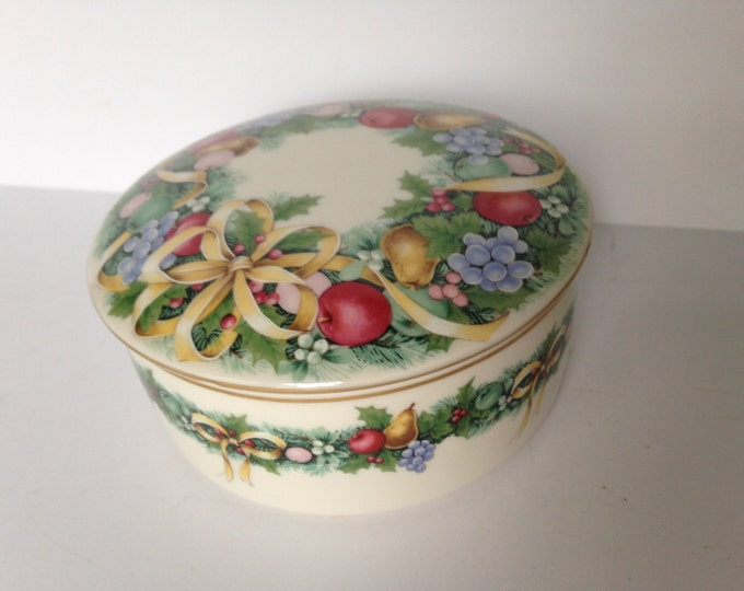 Lovely Porcelain Round Box with Lid in Christmas Bouquet by Mikasa.