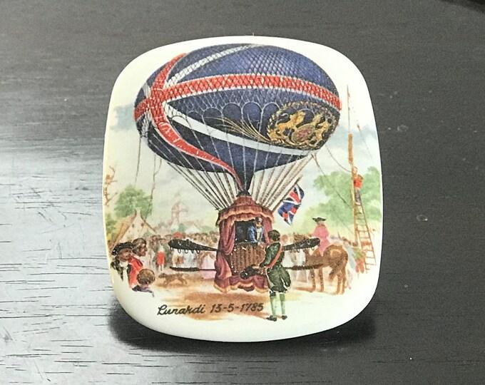 Vintage Ceramic Brooch Commemorating the 1785 Lunardi Hot Air Balloon Flight, British Museum, Balloonomania, Carington Bowles, Union Jack
