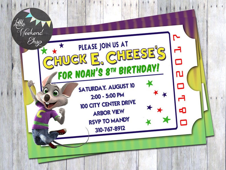 Chuck E Cheese Birthday Party Invitation For Invites With And Tickets Digital Invite