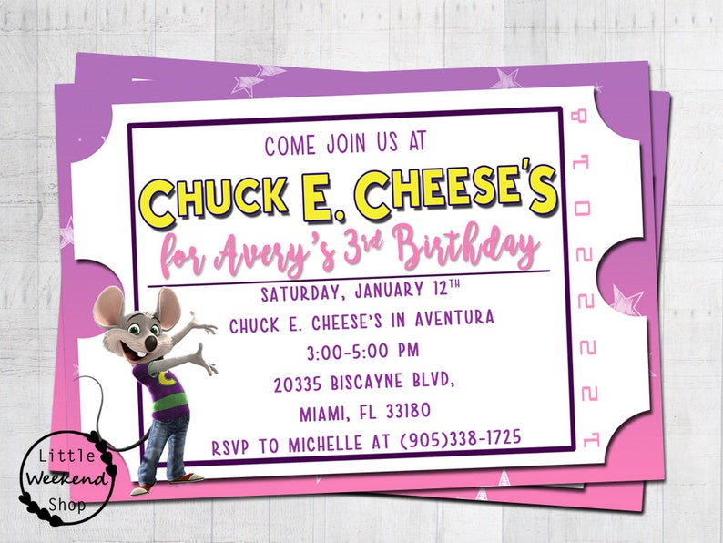 graphic relating to Chuck E Cheese Printable Invitations known as Chuck E. Cheese Birthday Social gathering Ticket Invitation Chuck E. Cheeses Celebration Invitations with Chuck E. Custom-made Tickets Electronic