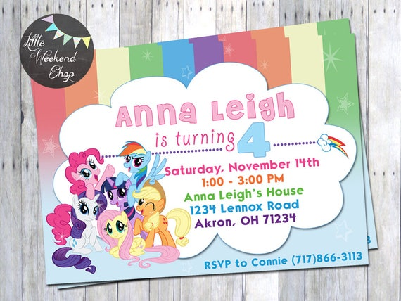 My Little Pony Birthday Party Invitation With Rainbow Dash