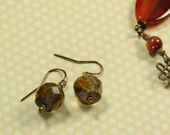 Natural Stone and Textured Copper Earrings