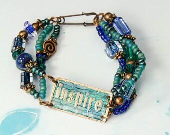 Multi-stranded Inspire Bracelet in Blues and Greens